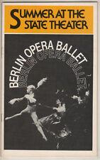 Berlin Opera Ballet Playbill 1978 Lincoln Center Valery & Galina Panov