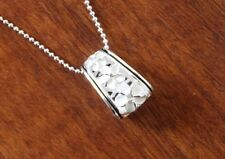 Hawaiian 925 Sterling Silver Plumeria Blk Enamel Barrel Pendant Necklace SP55806