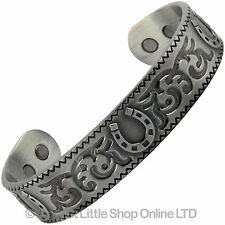 COPPER PEWTER MAGNETIC Bracelet RODEO DESIGN 6 Magnets Health Rare Earth NdFeB