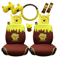 Winnie The Pooh 10 item car accessory set: seat covers, seat belts, neckrest etc
