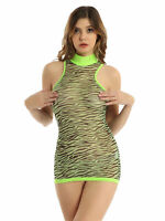 Sexy Womens Zebra Stripes Printed See-Through Mesh Boydcon Mini Dress Party Club