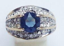 bague plaqué or 14k vintage fiançailles solitaire cz saphir et diamant T57