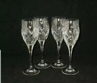 "Mikasa English Garden Cut Crystal 8 1/8""  Wine Glasses ~ Set of 4 Exc.Used Cond."