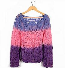 B5 Gorgeous Pink Purple Semi Sheer L/Sleeve Fashion LG Crochet Embroidery Blouse