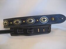 BLACK LEATHER  ANTIQUE GOLD  BIG CONCHO GUITAR STRAP