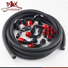 AN12 Steel/Nylon Braided 10AN Oil/Fuel line/Hose+Fitting/Hose End/Adaptor Kit BK