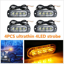 4 Pcs Ultrathin 4-LED Amber Car Off-Road Emergency Strobe Light Warning Lamp Bar