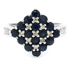 NEW 14k White Gold 1.18ctw Checkerboard Round Sapphire & Diamond Cocktail Ring