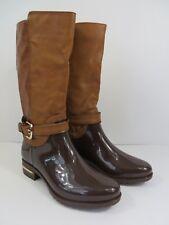 Forever Fashion Riding Rain Boots Clara 20 Mid Calf Two Tone Brown 7.5  #788