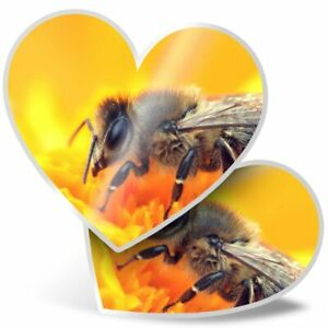 2 x Heart Stickers 15 cm - Honey Bumble Bee Flower  #16850