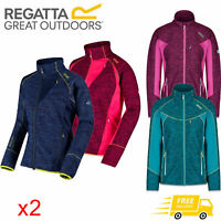 2 x Regatta Catley Womens Stretch Water Repellent Softshell Jacket Blue & Pink
