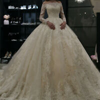 Princess Ball Gown Lace Bride Wedding Dresses Long Sleeve A Line Bridal Gown