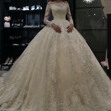 Long Sleeve Wedding Dresses Vintage Lace Applique Bride Dress Ball Gown Custom