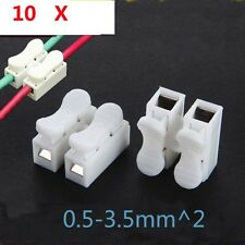10Pcs 250V 2way cable/wire quick splice connector white push fit connect simple