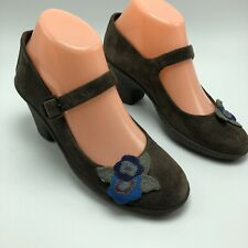 Camper Womens Mary Jane Wedge Sandals Brown Suede Flower Detail 36