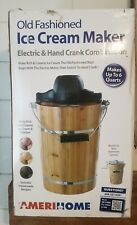 6 Quart Old Fashioned Ice Cream Maker Electric/Hand Crank AmeriHome New