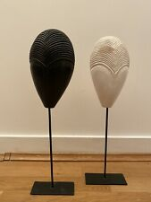 Minimal carved masks black and white home decoration