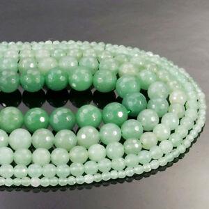 Green Aventurine Gemstone Faceted Round Beads 15.5'' 4mm 6mm 8mm 10mm 12mm DIY