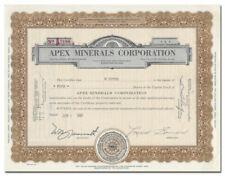 Apex Minerals Corporation Stock Certificate (Uranium)