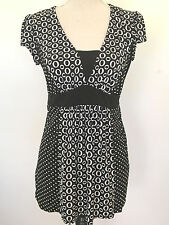 Maternity Tunic Top by Motherhood Black White Stretch Tie Back Size M