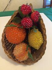 Vintage Cornucopia With Beaded And Flocked Fruit