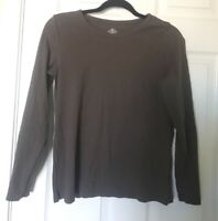 St John's Bay Women's Brown Long sleeve Tee Size Medium 100% Cotton (N-2)