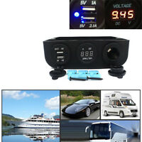 Car Auto Boat Cigarette Lighter Socket & Dual USB Power Adapter & LED Voltmeter