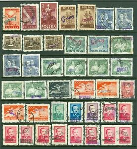 Poland – Selection of (39) 1950 Currency Revaluation Groszy Overprint Stamps