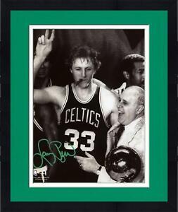 Frmd Larry Bird Boston Celtics Signed 8'' x 10'' Celebration & Auerbach Photo