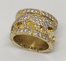 Cartier Walking Panthere Diamond 18K Yellow Gold Ring Sz 54