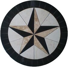Floor Marble Round Medallion Texas Star Compass Rose Tile Mosaic 30 in