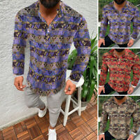Mens Long Sleeve Shirt V-Neck Causal Loose Ethnic T Shirt Collarless Tops Blouse