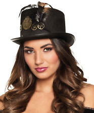Ladies Victorian Steampunk Black Top Hat Burlesque Riding Gothic Halloween NEW