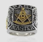 Past Master Masonic 18k Gold Pld Ring Mason Freemason Silver Size by UNIQABLE