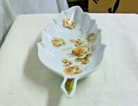 @AC-CH BAVARIA GERMANY OLD NUREMBERG VINTAGE FINE CHINA FLORAL LEAF DISH w/ GOLD