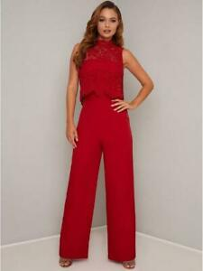 BNWT Chi Chi London Anastasia Lace Top Jumpsuit Red Size UK 8 RRP £65