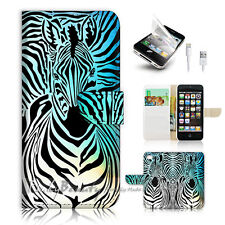 ( For iPhone 5 / 5S / SE ) Wallet Case Cover! Zebra Wave P0493
