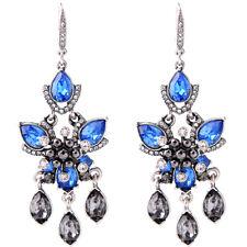 orecchini Argentato Candeliere Perla Nero Cristallo Blu Grigio Matrimonio XX24