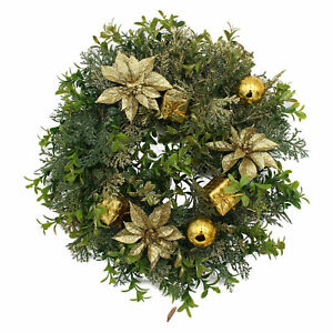 "Christmas Artificial Plastic Wreath - 12"" 30cm - Decorated - Gold Poinsettia"