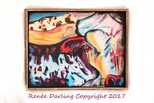 ABSTRACT 19 x 15 Cowboy Steer Cow Horns RENEE DARLING FINE ART Painting CANVAS