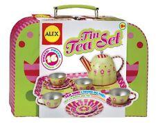 Play Tin Tea Set Party Kid Metal Teapot Cup Home Storage Box Fun Hobby Rest