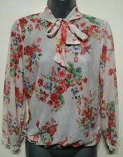 Size 8/10 Top Cream Red Floral Sheer Neck Tie Excellent Condition Women's