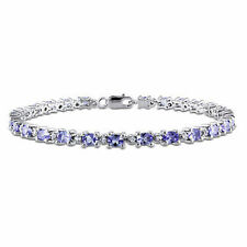 Amour 4.42 Ct Sterling Silver Tanzanite and White Topaz Bracelet 7""