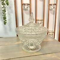 Vintage Clear Glass Pedestal Candy Dish Compote