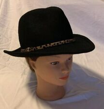 Hat Attack Womens Casual Trilby Fedora Hat Black Wool Size OS
