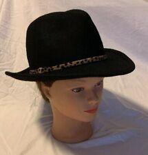 Adora Womens Wool Felt Wide Brim Floppy Fedora Hat with Metallic Bead Trim 456