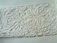 "Vintage White Lace TRIMMINGS 10 YARDS White FINE LACE Trim 4"" Wide Floral Design"