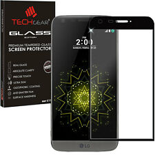 Black TECHGEAR TEMPERED GLASS FULL Coverage Screen Protector Cover for LG G5