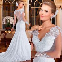 Cap Sleeves Mermaid Bridal Gown Wedding Dress V-neck Train Size 6 8 10 12 14 16+