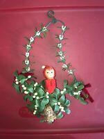 VTG Kitsch Napco Christmas Knee-Hugger Elf Mistletoe Plastic Wall Hanger Japan